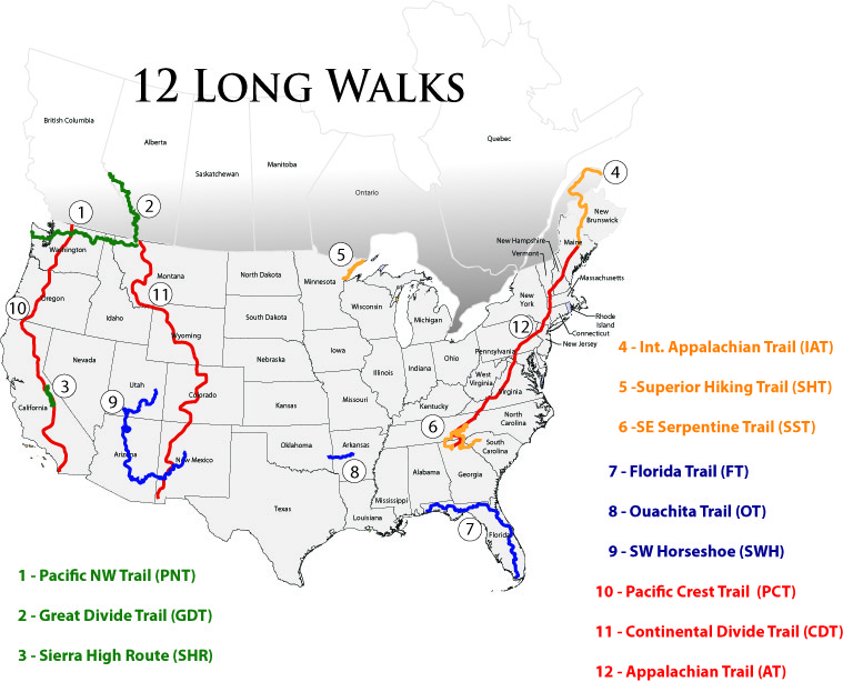 Long Distance Hiking Trails National Scenic Trails Map Page - Us map numbered